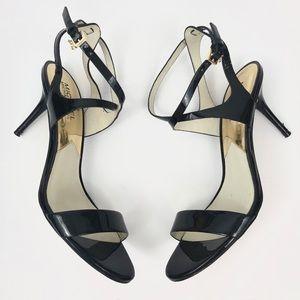 Michael Kors Patent Black Strap Sandal Heels